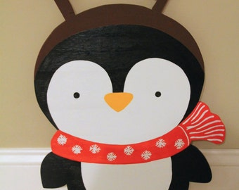 Christmas Penguin with Reindeer Antlers Outdoor Lawn Decoration