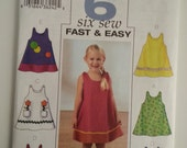 Toddler dress /Little girl / summer / sleeveless/cute/ A Line/vacation dress 2003 sewing pattern, Chest 23 24 25, Size 4 5 6, Butterick 3772