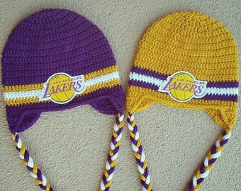 LA Lakers beanie with or without ear flaps