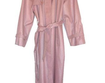 Bonders Long Raincoat Overcoat Women's Mauve Full Lining Waist Tie Sz. M 8-10