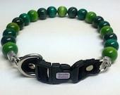 Shades of Green Beaded Dog Collar, Buckle Collars, Martingale Collars, Dog Pearls UNBREAKABLE GUARANTEE!