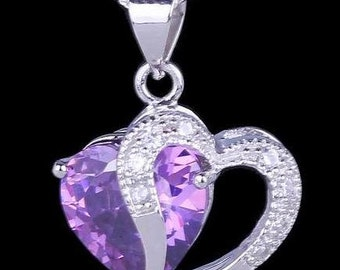 Amethyst Double Heart Necklace, Silver Intertwined Hearts Necklace, Two hearts necklace, Sterling Silver Necklace, Crystal pendant