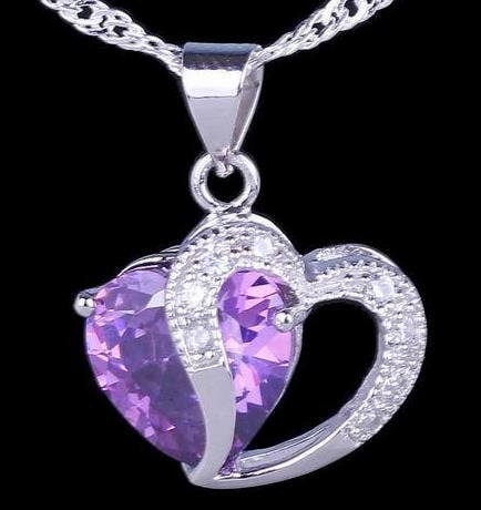 Amethyst Double Heart Necklace Silver Intertwined Hearts