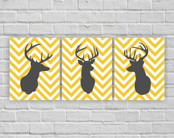 Deer Silhouette, Deer Stencil, Head Deer Chevron, Deer Yellow and Grey, Deer Printable, Deer wall art, Deer Set of 3, 8x10, INSTANT DOWNLOAD