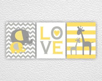 Yellow and Gray Baby Elephant Giraffe Love, Chevron,  Baby room Wall Art Prints Set of 3, 8x10, Nursery Printable INSTANT DOWNLOAD