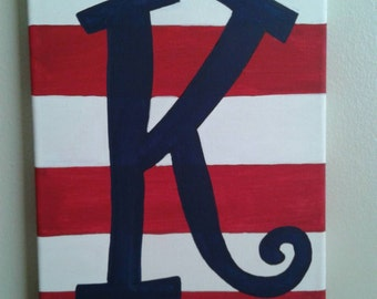 Red stripes with Navy initial canvas painting 9x12