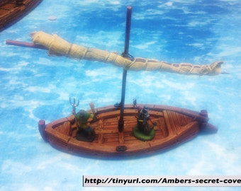 Fishing Boat, Small 28mm White Resin Unpainted (Tabletop, RPG, Toy, Diorama, Gaming, Terrain)