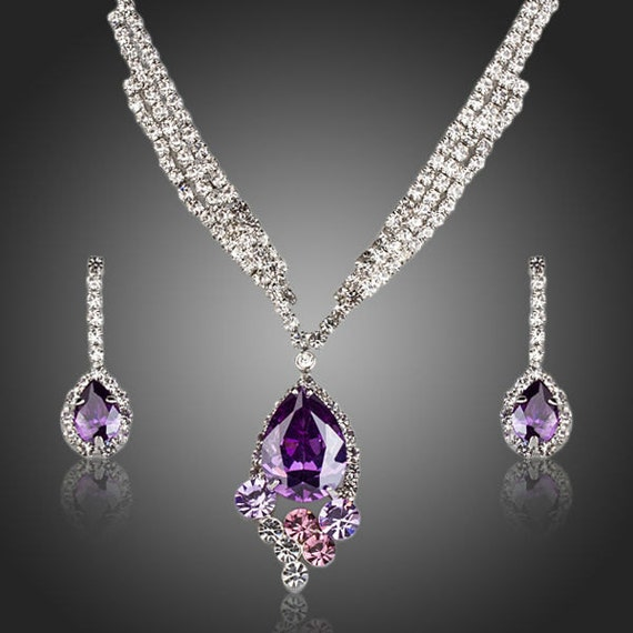 Mother Of The Bride Jewelry: Purple Mother Of The Bride Purple Jewelry Set By