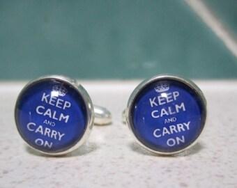 "Blue ""Keep Calm and Carry On"" Cufflinks"