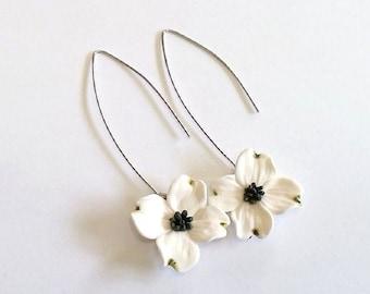 White Dogwood Drop Earrings, White Flower Drop Earrings, Dogwood bridal Jewelry, Perfect For Bride