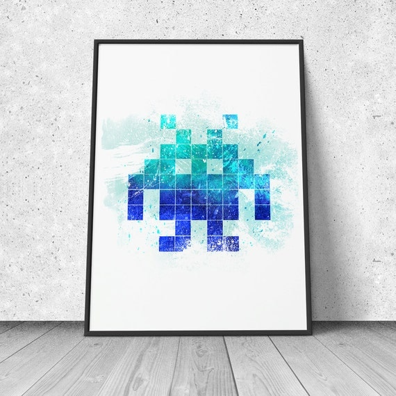 Space Invader watercolor illustration giclee art print