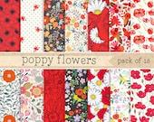 Poppy Flower Digital Paper: Red Pattern Set, Floral Scrapbook Backgrounds Pack, DIY gift Wrapping, packaging, Design Instant Download