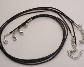2 Waxed Cord Necklaces Black 47cm - FD143