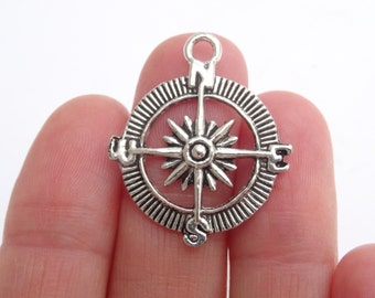 7 Compass Charms Antique Silver 30mm x 25mm - SC451