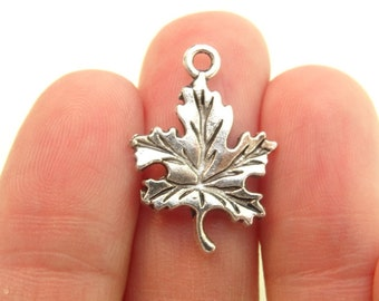 8 Maple Leaf Charms Antique Silver - SC465