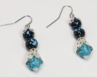 Turquoise Earrings, Turquoise and Black Earrings, Turquoise Dangle Earrings