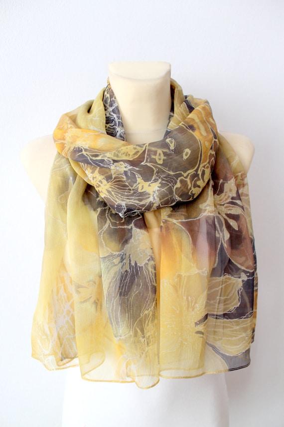 Handpainted Silk Scarf - Soft Chiffon Scarf - Yellow Silk Scarf - Silk Chiffon Scarf - Abstract Silk Scarf - Designer Silk Scarf - Gift Idea