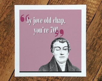 70th Birthday Card; By Jove Old Chap You're 70; Card For Him; Card For Men; Birthday Card For 70th; GC238