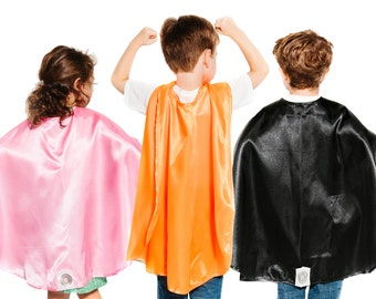 Kid's Plain Superhero Cape - Polyester Satin