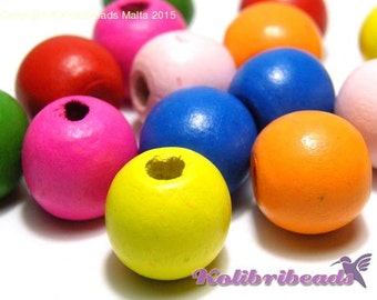 15x Round Wooden Beads 16 mm - Mixed Colours