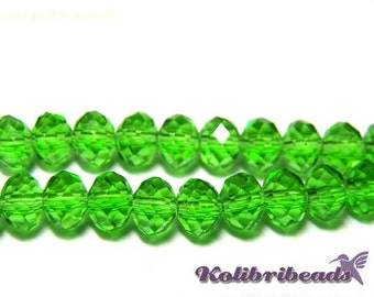 Faceted Glass Briolette Beads, Rondelle Beads 6mm - Peridot
