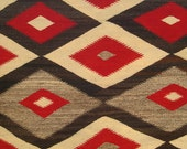 Vintage Authentic Navajo JB Moore Plate Variant Crystal Region Native American  Red Black Gray White Woven Rug