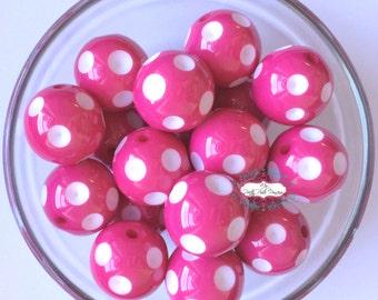 20mm Posh Pink Polka Dot Chunky Bubblegum Beads Set of 10
