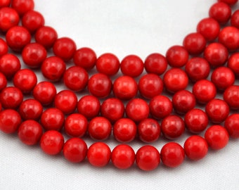 60 Pieces Red coral beads,One Full Strand,coral Beads,Gemstone Beads---7-8mm---16inches----S00206