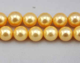 1 Strand 40pcs 10mm Freshwater Pearl,golden Pearl Beads,10mm Pearl,Shell pearl has,Gemstone Beads--- J0103