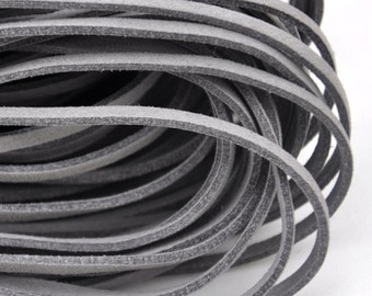 10 meters of  Dark grey Faux Leather Ribbon Cords String--- 2.5mm---S0223