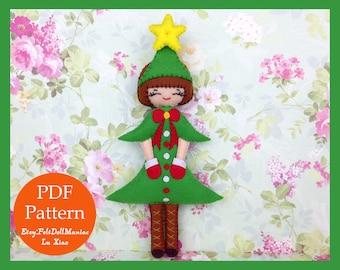Christmas Tree Doll. Felt Doll. PDF Pattern and Tutorial. Christmas Pattern.