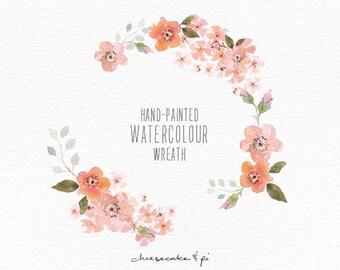 Watercolor wreath: 1 PNG floral clip art / Wedding invitation clip art / commercial use / Peach blossom / CM0063a