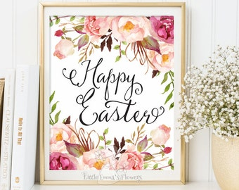 Happy Easter Print wall art decor Easter Decoration Easter art Easter home decor Easter Prints Easter Sign Easter flower print decor 146