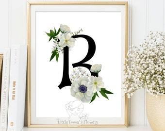 Printable monogram letter Nursery Letter Monogram Art printable flower nursery initials calligraphy monogram nursery print nursery floral