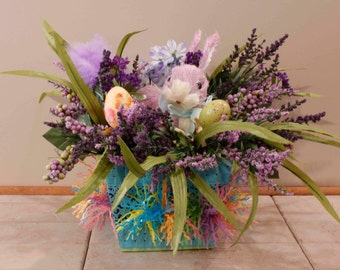 Easter Bunny Lavender Sisal Bunny In Blue Lace Tin Pastel Fringe Spikes of Lavender   ( Item 224)