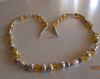 Sterling silver and Yellow Bead Necklace