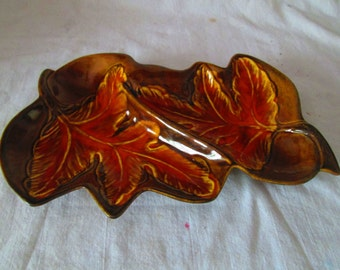 Vintage California Pottery Double Leaf Serving Snack Nut Dish Divided pottery dish USA
