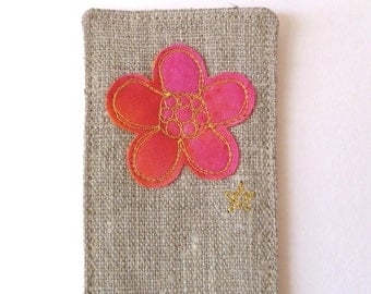 Embroidered bookmark for her. In natural linen with pink flower design and pretty floral fabric back. Lovely small gift for a book lover.