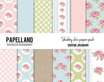 Shabby Chic Digital Paper, Pink, Aqua,Green for scrapbooking, Making Cards, Tags and Invitations / Instant Download