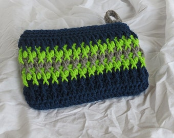 Seattle Seahawks inspired zippered clutch purse with lining