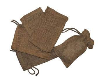 "Lot of 25 - Small Natural Rustic Burlap Bags with Natural Jute Drawstring for Showers   Weddings Parties Receptions - 4"" x 6"""