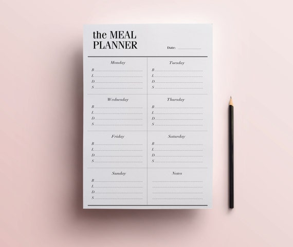 Weekly Meal Planner Printable A5 A4 Half Size 8 5 X 5 5