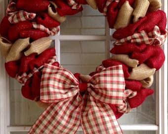 Christmas Wreath - Burlap wreath - Door Wreath - Front Door Wreath - Everyday Wreath -