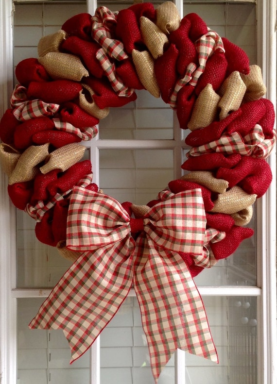 Christmas wreath burlap wreath door wreath front by Burlap xmas wreath