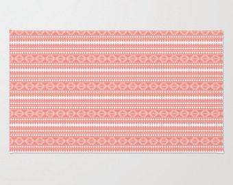 Coral Tribal Pattern Plush Area Rug, Nursery Rug, Girls Room Decor, Aztec Rug