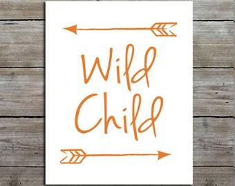 Wild Child Quote Nursery Print, Woodland Nursery Decor, Customizable, Typography Print, Kids Room Art