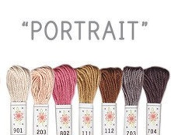 Sublime stitching 7 floss pack, Portrait colour palette, 6ply 100% cotton
