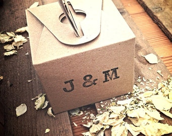 Rustic Country Personalised Kraft Confetti Boxes