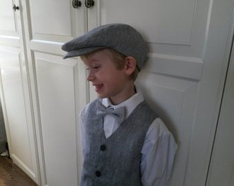 Boy  Grey Flat Cap Ring Bearer Outfit Driving Cap Newsboy Hat Ivy Scally Cap Toddler Boys Portraits