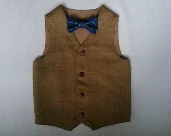 Boys Brown Wool Vest Woodland Wedding Boys Waistcoat Ring Bearer Outfit